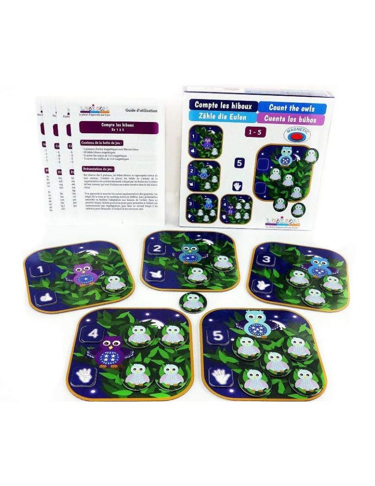 Présentation du Jeu de numération compte les hiboux de 1 à 5 avec la boite, la notice et les cinq plateaux