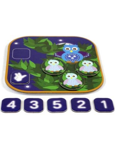 jeu numération compte les hiboux plateaux et chiffre 3