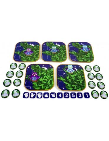 Toutes les pièces du jeu de mathématique compte les hiboux de 1 à 5