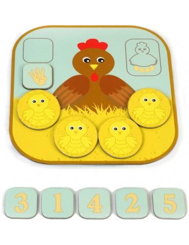 plateau chiffre 4 du jeu éducatif compte les poussins